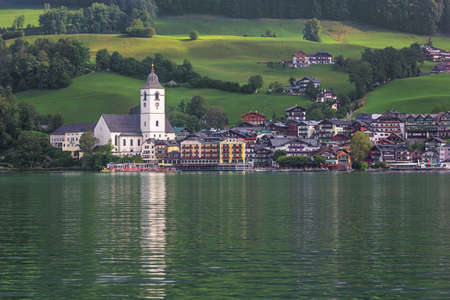Editorial: ST. WOLFGANG, UPPER AUSTRIA, AUSTRIA, August 16, 2020 - View of St. Wolfgang in the early morning, seen from the jetty in Gschwendt Editoriali