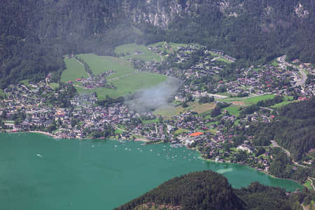 Close up of St. Gilgen with Lake Wolfgang, seen from the Schafberg Archivio Fotografico