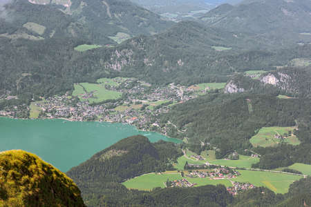 General view of St. Gilgen with Lake Wolfgang, seen from the Schafberg