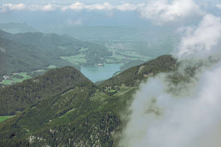 Distant view of Lake Fuschl, seen from the Schafberg