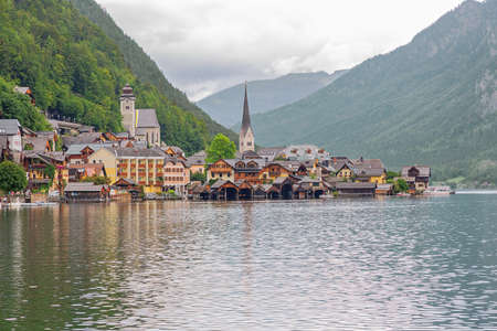 Close up of Hallstatt with the lake, seen from the entrance of the village