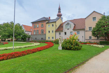 Editorial: WELS, UPPER AUSTRIA, AUSTRIA, August 18, 2020 - View of the garden of Wels Castle seen from the entrance
