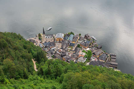 Looking down at Hallstatt seen from the Hallstatt skywalk Archivio Fotografico