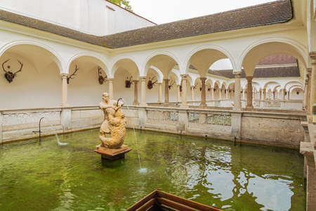 Editorial: KREMSMUNSTER, UPPER AUSTRIA, AUSTRIA, August 18, 2020 - Fish tanks in the Kremsmunster Abbey in one of its courtyards