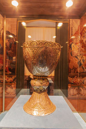 Editorial: KREMSMUNSTER, UPPER AUSTRIA, AUSTRIA, August 18, 2020 - View of the Tassilo Chalice, a treasure of the Kremsmunster Abbey