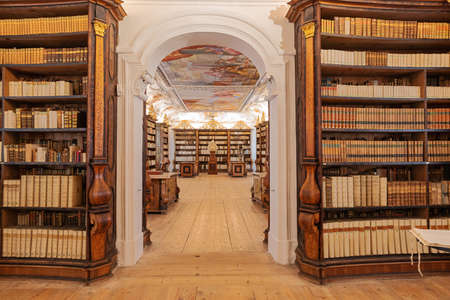 Editorial: KREMSMUNSTER, UPPER AUSTRIA, AUSTRIA, August 18, 2020 - View inside the library of the Kremsmunster Abbey