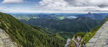Panorama from the pre Alps from the Attersee till the Traunsee, seen from the the mountain station of the Feuerkogel cable car Archivio Fotografico