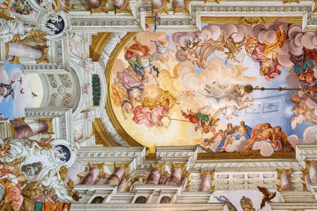 Editorial: KREMSMUNSTER, UPPER AUSTRIA, AUSTRIA, August 18, 2020 - View of the painted ceiling of the imperial hall inside the Kremsmunster Abbey