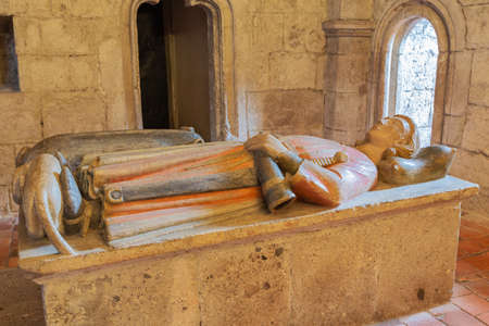 Editorial: KREMSMUNSTER, UPPER AUSTRIA, AUSTRIA, August 18, 2020 - Tomb of Gunther, the son of Duke Tassilo inside the church of Kremsmunster Abbey. Selective focus on the cenotaph.