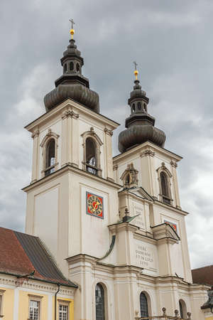 Towers of the abbey church of Kremsmunster seen from the courtyard