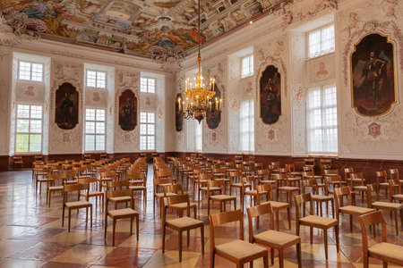 Editorial: KREMSMUNSTER, UPPER AUSTRIA, AUSTRIA, August 18, 2020 - View of the abundantly decorated imperial hall inside the Kremsmunster Abbey Editoriali