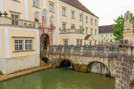 Bridge over the moat between the inner and the outer courtyard in Kremsmunster Abbey Archivio Fotografico
