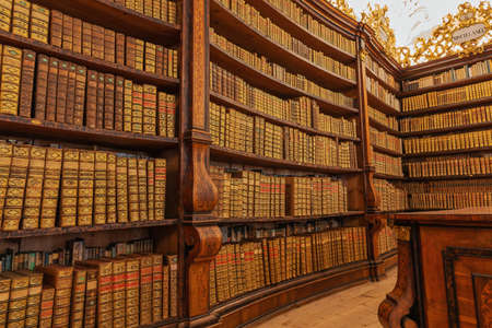 Editorial: KREMSMUNSTER, UPPER AUSTRIA, AUSTRIA, August 18, 2020 - Between the books in the library of the Kremsmunster Abbey