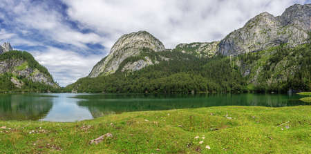 Panoramic view of the Hinterer Gosausee in northerly direction, seen from the Holzmeister Alm
