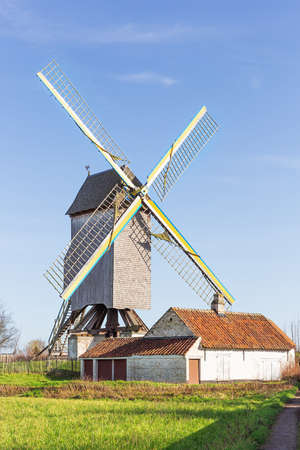 View of the protected windmill called 't Meuleken in Zingem, a village in the Flemish Ardennes
