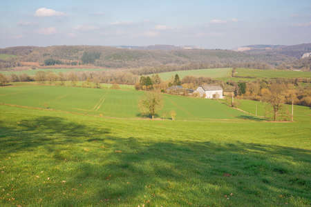 Farmland on the hills in the Condroz near Warnant in the vicinity of Namur Фото со стока