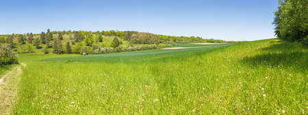 Panoramic view of the calcareous grassland near the Fondry des chiens. Fondry comes from the French fonderie because iron ore from the sinkhole was melted. Standard-Bild