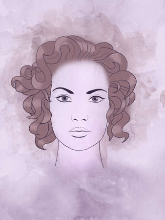 perfumery concept: A fashion illustration sketch portrait of a young beautiful girl with curly hair
