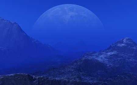 futuristic nature: Foggy Alien Planet - 3D Rendering