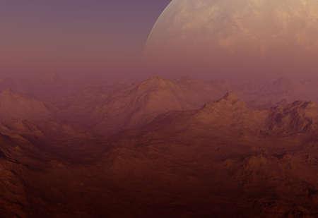 far away: 3d rendered Space Art: Alien Planet - A Foggy Fantasy Landscape