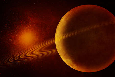 nibiru in space: Image of Planet with rings in universe Stock Photo