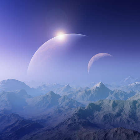 far away: 3d rendered Space Art:  A Foggy Fantasy Landscape with two planets in background