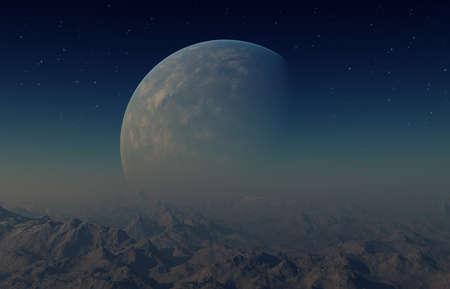 3 d レンダリングされた空間アート: エイリアンの惑星 - ファンタジー風景