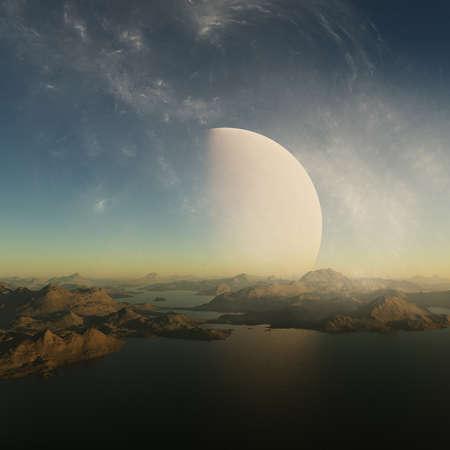 3d rendered Space Art: Alien Planet - A Foggy Fantasy Landscape