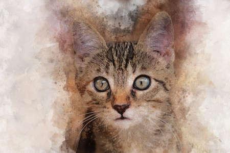Watercolor hand painted illustration of cute brown kitten Banco de Imagens