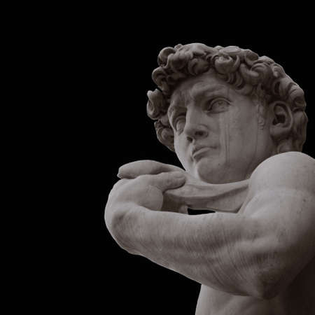 Famous statue by Michelangelo - David from Florence, isolated on black Archivio Fotografico