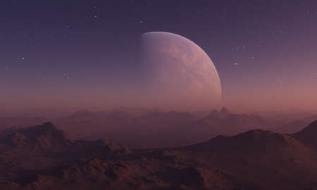 3d rendered Space Art: Alien Planet - A Fantasy Landscape with red skies and stars 写真素材