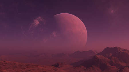 3d rendered Space Art: Alien Planet - A Fantasy Landscape with red skies and foggy sky