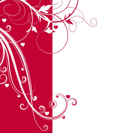 Elegant red and white background with swirls and little hearts and space for your text