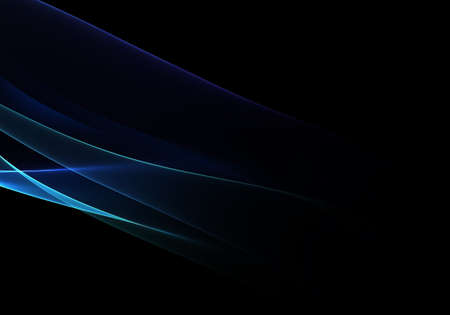 Abstract black background with blue dynamic lines and curves