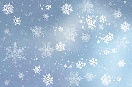 Niebieskie zimowe tło z płatkami śniegu do własnych kreacji