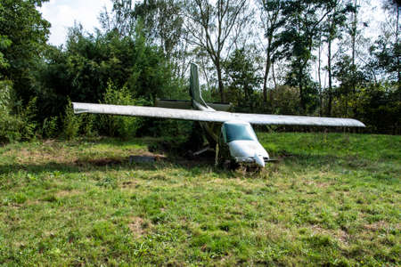 Overloon, The Netherlands - September 8, 2019:Old vintage airplane used as a decoration, old air transportation vehicle Фото со стока