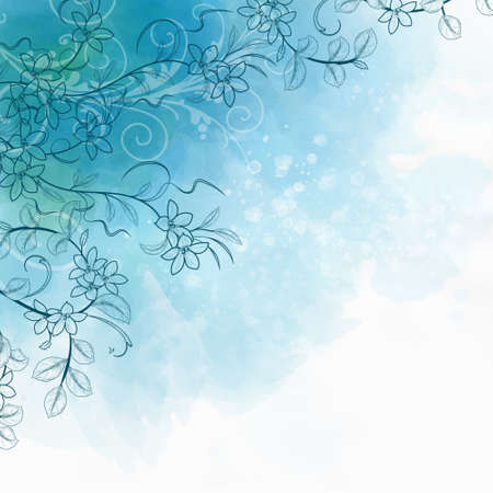 Beautiful watercolor floral design - White and blue abstract background with space for your text