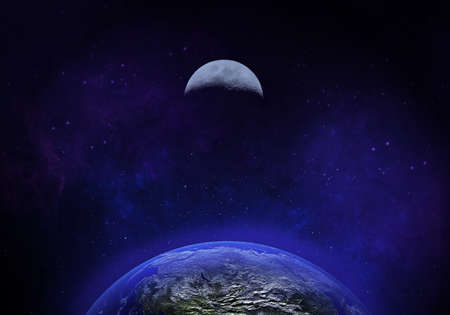 3d rendered Space Art: Alien Planets - The earth and moon