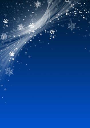 Fondo de invierno azul con copos de nieve para tus propias creaciones Foto de archivo