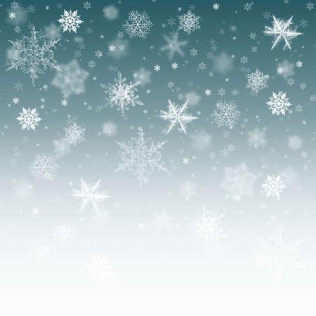 Sfondo di neve blu. Nevicata di Natale con fiocchi sfocati. Concetto di inverno con la neve che cade. Texture di vacanza ed elementi bianchi.