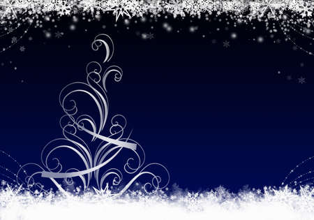 Blue Winter Background with snowflakes and christmas tree. Stock fotó