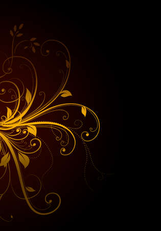 Elegant dark background with golden swirls and space for your text