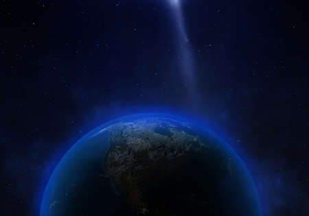 3d rendering: Planet Earth in outer space. Imaginary view of planet earth in a star field Reklamní fotografie