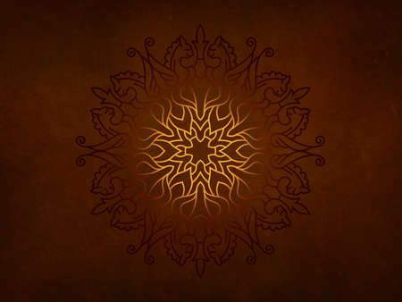 Red vintage greeting card on a black background. Mandala. Great for invitation, flyer, menu, brochure, postcard, wallpaper, decoration, or any desired idea.