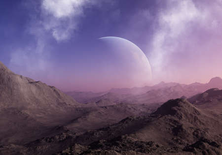 3d rendered Space Art: Alien Planet - A Fantasy Landscape with blue skies and clouds 版權商用圖片