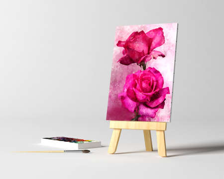 Artistic equipment in studio: canvas on an easel on table. Copy space for text.