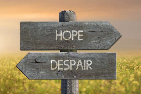 Illustration of despair and hope road sign. Imagens