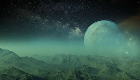 3d rendered Space Art: Alien Planet - A Fantasy Landscape with dark skies and clouds