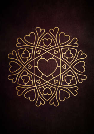Illustration of a round mandala pattern with hearts interwoven in red and golden ornament Banque d'images