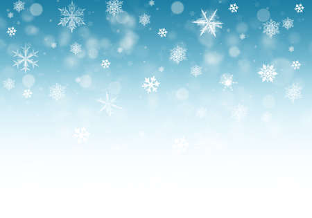Snow background. Blue Christmas snowfall with defocused flakes. Winter concept with falling snow. Holiday texture and white snowflakes. Reklamní fotografie